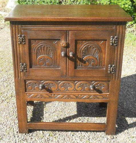 Carved Oak Small Cupboard by Reprodux
